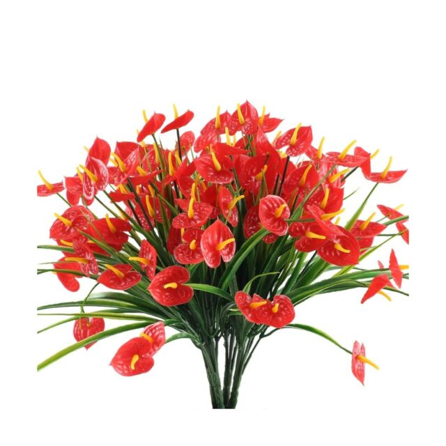 Nahuaa 4PCS Artificial Anthurium Flowers Fake Greenery Plants Faux Plastic Wh...