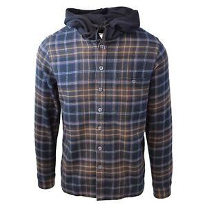 Cherokee-Men-039-s-Tottus-Camisa-Black-amp-Brown-Plaid-Hooded-L-S-Flannel-Shirt