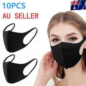 10pcs Washable Earloop Mask Cycling Anti Dust Mouth Face Mask black au