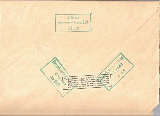 Deutschland MiNr. 226 y w ** Original Bundesdruckerei Bogenmappe mit 1 HAN Bogen
