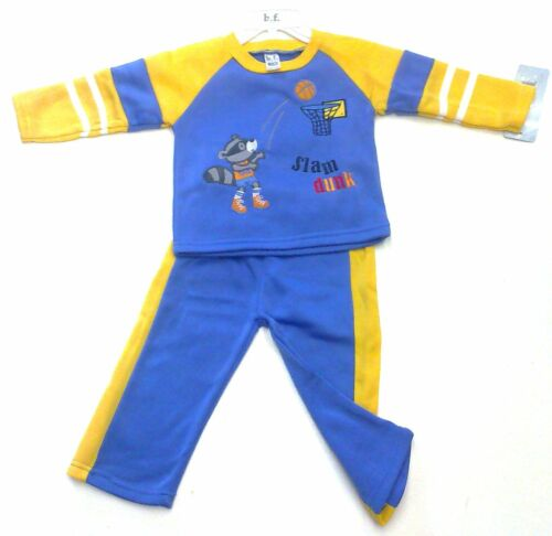 BNWT BABY BOYS JOG SUIT EMBROIDERED b.f SLAM DUNK PRINT BLUE WITH YELLOW