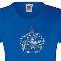 "Girl's T-Shirt (12 Colour options) Rhinestone Embellished ""Crown"" 3 - 15 Yrs"