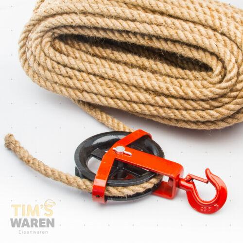 16mm JUTESEIL UMLENKROLLE mit Haken Tauwerk Seilwinde Seilzug Seil SET