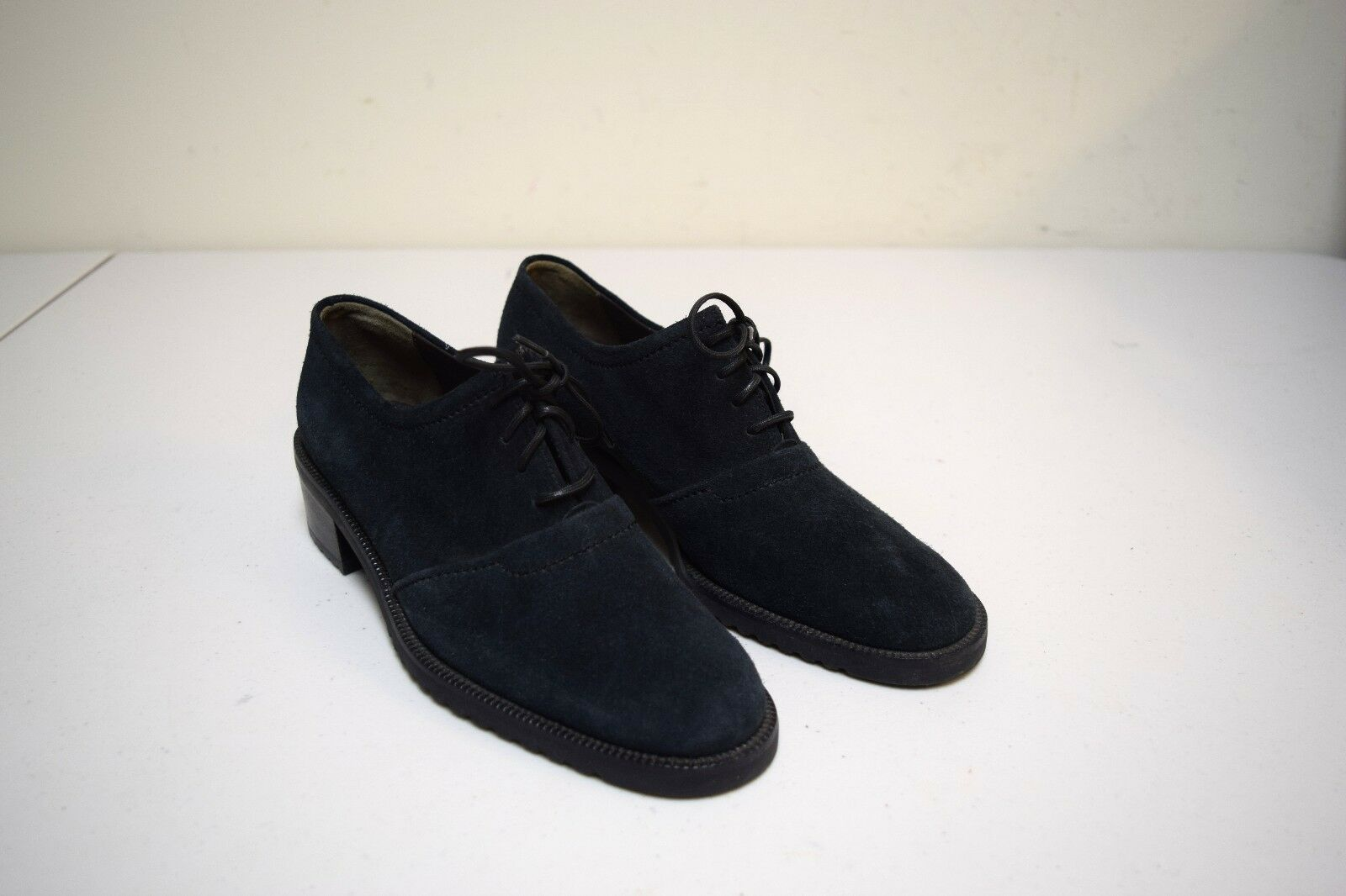 NOS Vintage BALLY Switzerland Black Suede Lace Up Oxfords w Lug Sole  Size 6