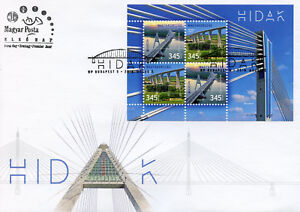 Hungary-2018-FDC-Bridges-Europa-Bridge-4v-M-S-Cover-Architecture-Tourism-Stamps