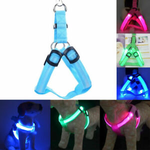 Pet-LED-Glow-Safety-Collar-Rope-Light-Dog-Puppy-Belt-Harness-Leash-Tether-Sale
