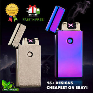 Electric-DOUBLE-ARCH-PULSE-PLASMA-LIGHTER-Flameless-Metal-Cigarette-USB-Gift-UK