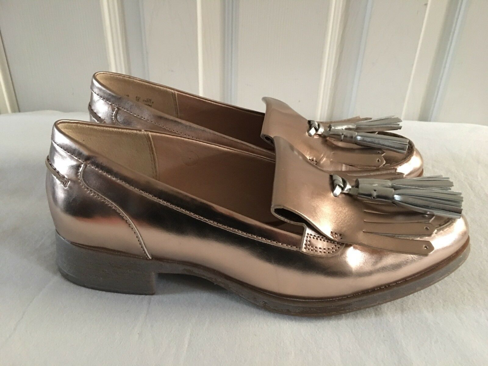 New Clarks Busby Folly Bronze silver Metallic Leather Loafers shoes Sz UK 5 D