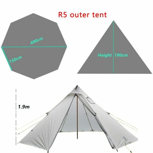 Ultralight Outdoor Camping Teepee 20D Silnylon Pyramid Tent 4//6 Person Large UL