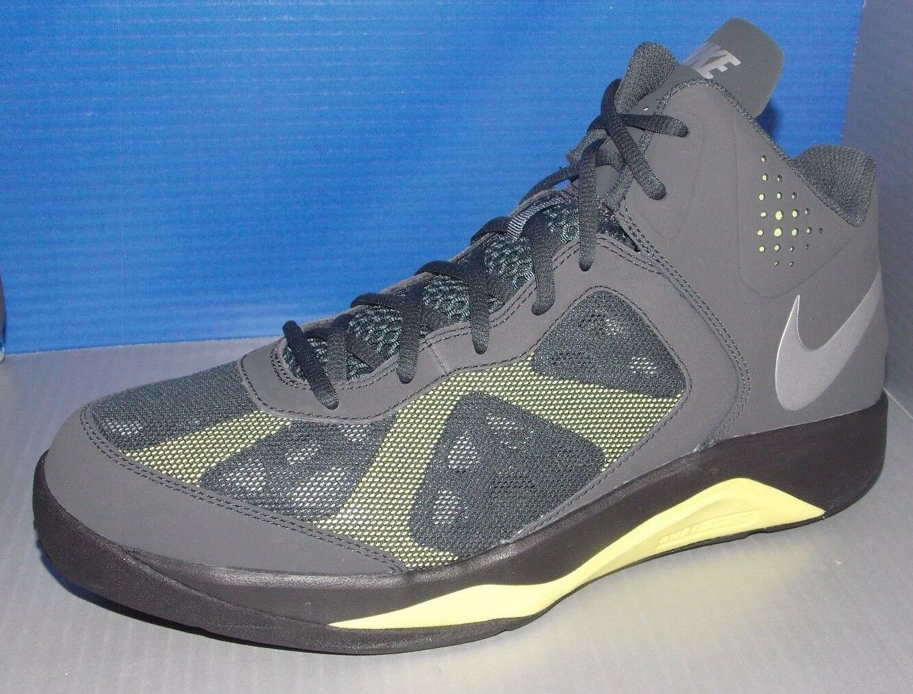 2bf45e30b727 MENS NIKE DUAL FUSION FUSION FUSION BB NBK ANTHRACITE   GREY   ELECTRIC  YELLOW SIZE 11.5