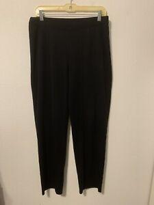 Exclusively Misook Sz Medium Pull On Black Pants Dress Knit Slacks Elastic Waist