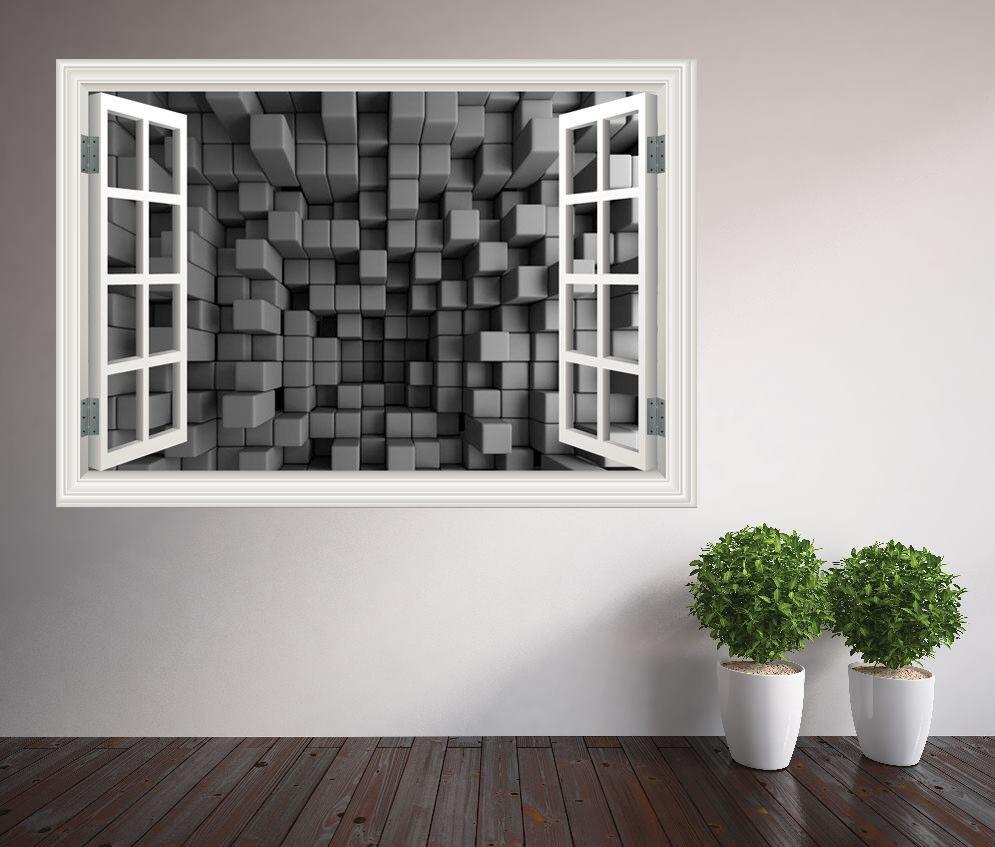 Awesome 3D Illusion Optique Optique Optique Cubes Fenêtre Autocollant Mural Décoration   Que Nos Produits Vont Dans Le Monde  b6e050