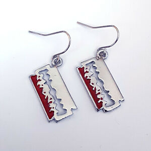Gothic-Horror-Punk-70s-80s-Heavy-Metal-Razorblade-Razor-Blade-Earrings-Ear-Ring