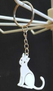 Cat keyring - White