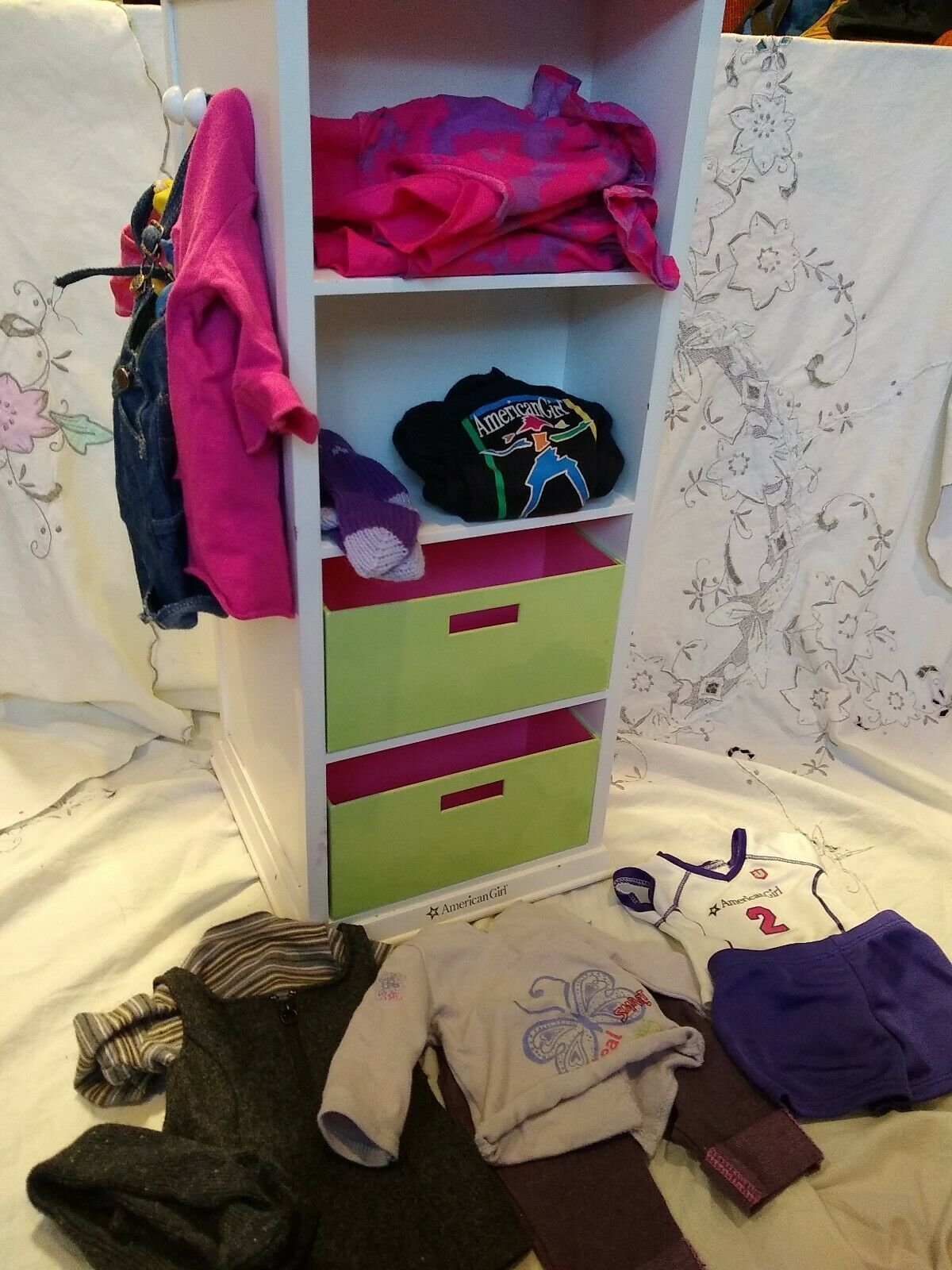 American Girl Doll Storage Tower Shelf with Drawers and Clothes