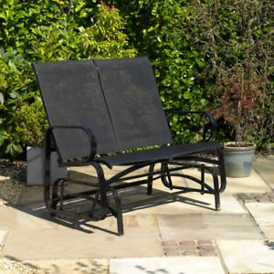 Black-2-Person-Steel-PVC-Glider-Chair-Patio-Furniture-Bench-Rocking-Chair-Garden