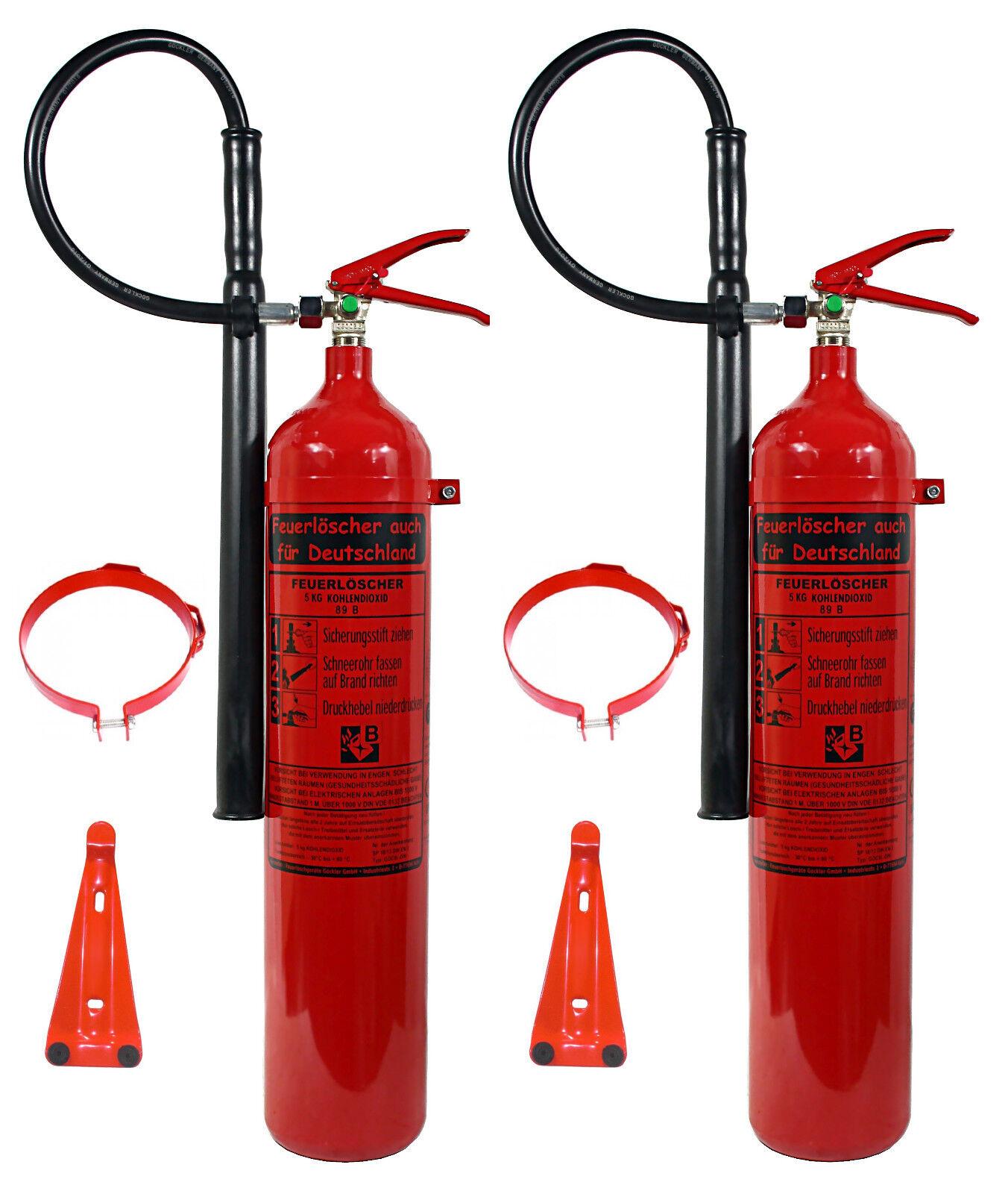 2 X 5 kg Feuerlöscher CO2 Kohlendioxid DIN EN 3   GS + Wandhalter EDV BÜRO LABOR