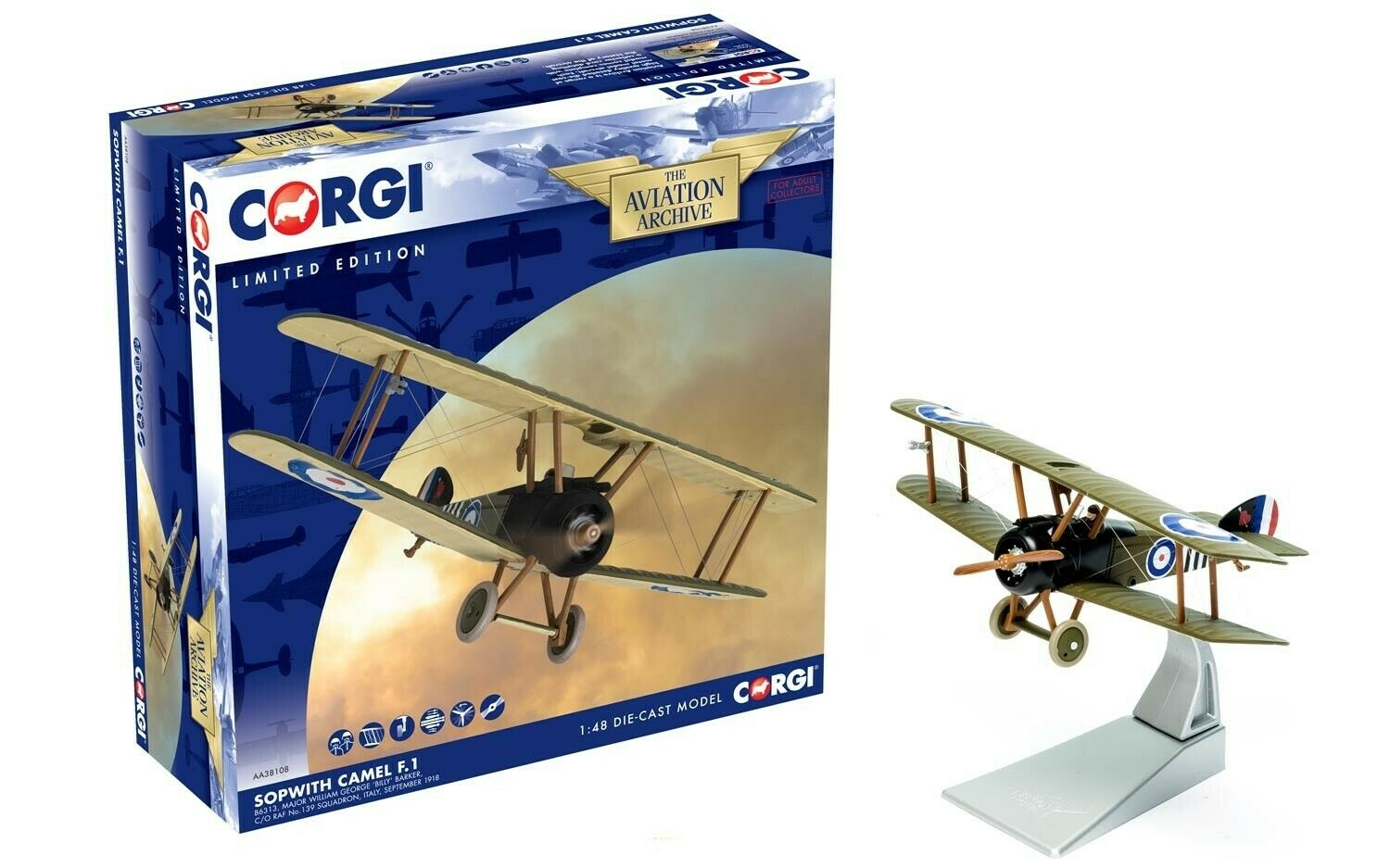 Corgi Aviation AA38108-Sopwith Camel F1 principales Billy Barker, 139 Sqn RAF 1 48