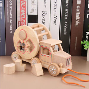 Log-Color-Children-Trailer-Building-Blocks-Vehicle-Wooden-Early-Learning-Toy-LH