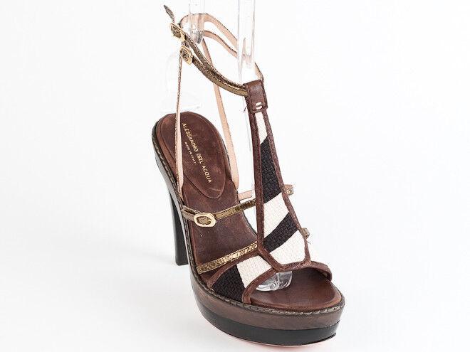 New Alessandro Dell'Acqua Brown Sandals Size 37 US 7