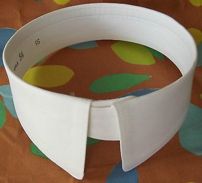 "White detachable collar Size 15"" UNUSED vintage 1970s mens stiff shirt collar 54"
