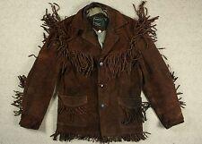 VINTAGE Schott Rancher in Pelle Scamosciata Cowboy western con frange Giacca Biker USA 38