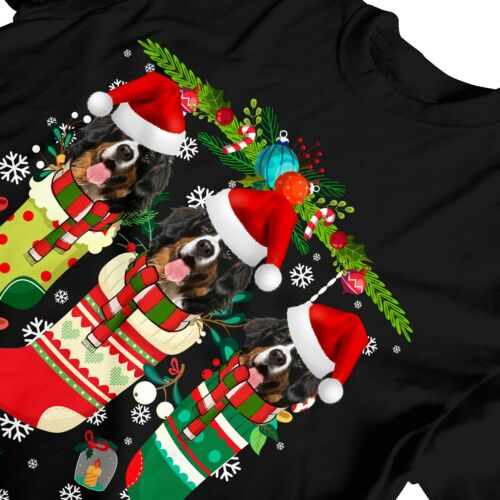 1Tee Kids Boys Christmas Stockings with Adorable Bernese Mountain Dogs T-Shirt