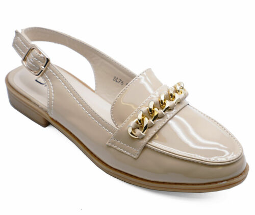 WOMENS PATENT BEIGE COMFY SMART LOAFERS CASUAL ANKLE STRAP FLAT SHOES UK 3-8