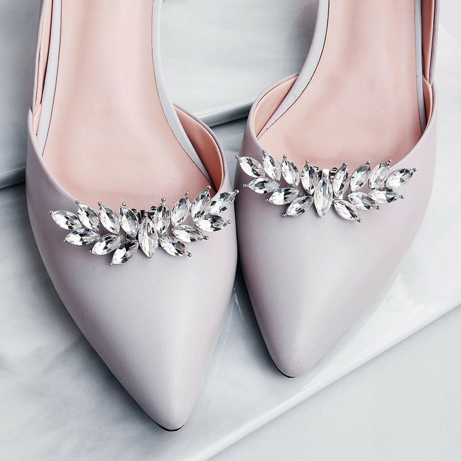 1 Pair Bridal Shoe Decorations Clips Rhinestone Shoe Buckle Charms for Wedding