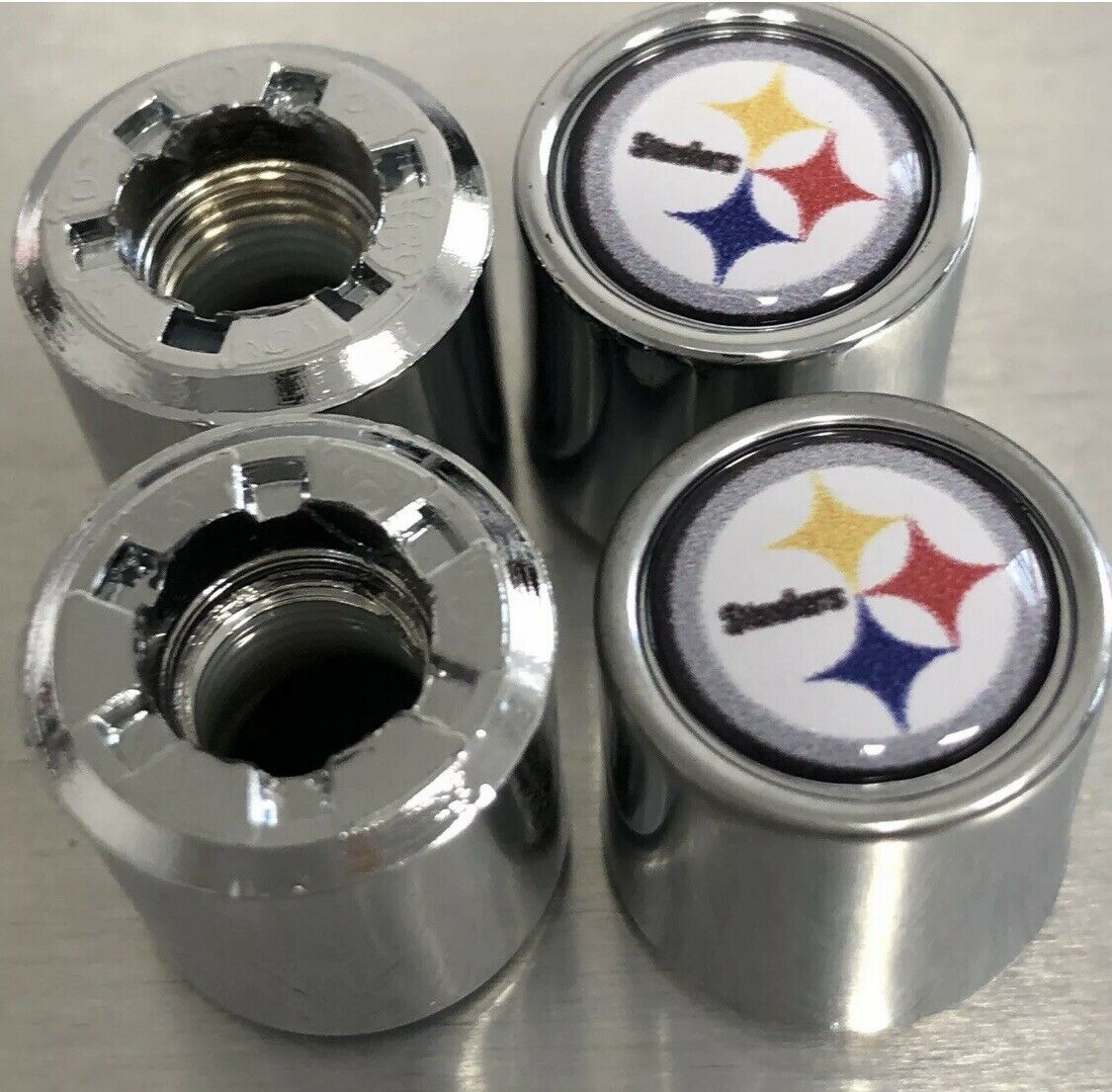 Oakland Raiders Auto Parts 4-Pack Sport Metal Car Wheel Tire Valve Stem Caps with US Rugby Team Logo