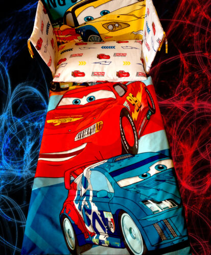 Exclusive McQueen Disney Cars RED BLUE Cot BEDDING SET