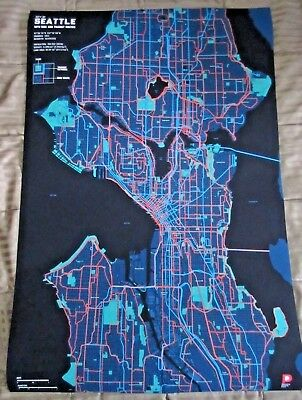 Poster Vintage Artwork Wall Decor American Seattle Airview Map 28x18 Inch Gift