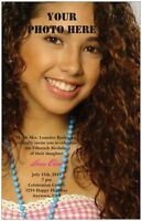 30 50 80 100 Your Photo Front & Back Quinceanera Wedding Invitation Custom