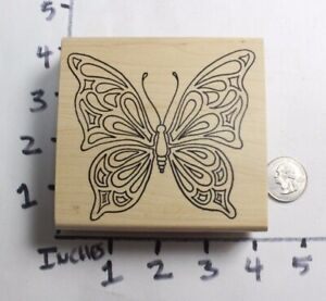 Wooden-RUBBER-STAMP-Large-Butterfly-by-Holly-Berry