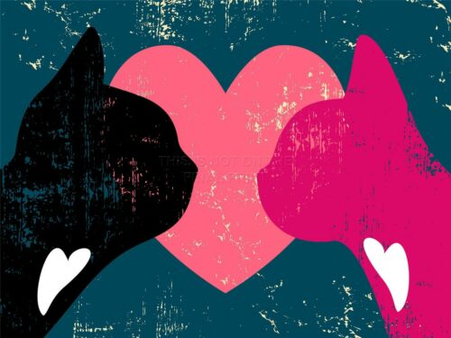ART PRINT POSTER PAINTING DRAWING GRUNGY CATS LOVE HEART ROMANCE LFMP1061