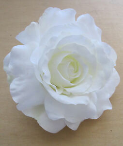 Wedding Party,Bridal Dance Prom 3.5 White Satin Silk Rose Flower Brooch Pin