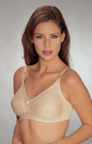 FIRM CONTROL POLYCOTTON NON WIRED  BRA BY NATURANA WHITE OR SKIN 36-46 B C D DD