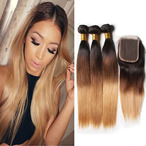 Brazilian-Ombre-1B-4-27-Straight-3Bundles-With-4-4-Lace-Closure-Human-Hair-Remy