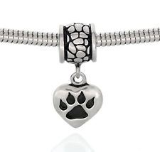 Dog Paw Print Dangle Heart Charm Stainless Steel Bead Fits European Bracelets