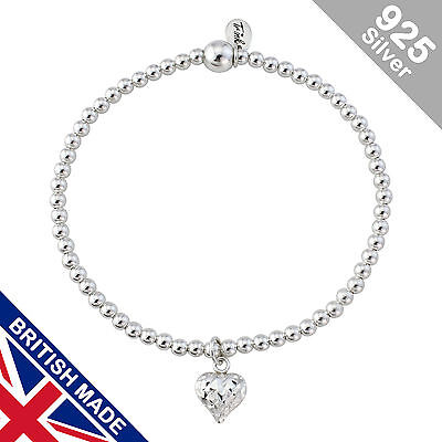 Trink Angel Feather Sterling Silver Beaded Charm Bracelet Elastic Stretch