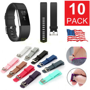 10-Pack-Replacement-Wristband-For-Fitbit-Charge-2-Band-Silicone-Fitness-Large-US