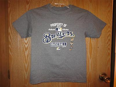 """Ausdrucksvoll Neu Majestic """" Property Of """" Milwaukee Brewers Youth Medium m Hemd 33yn Modische Und Attraktive Pakete"""