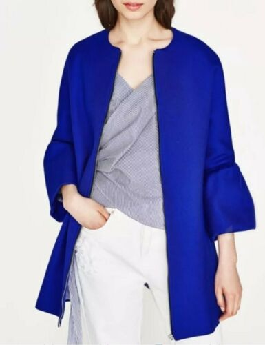 NWT ZARA COAT WITH FRILLED SLEEVES JACKET COBALT BLUE BLOGGERS REF 2915//889
