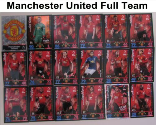 Match Attax 2018//19 Manchester United Full Team Set 235-252 2018//2019 Badge Star