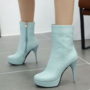 Women-Short-Ankle-Boots-Platform-Round-Toe-Zip-Stiletto-High-Heel-Winter-Booties