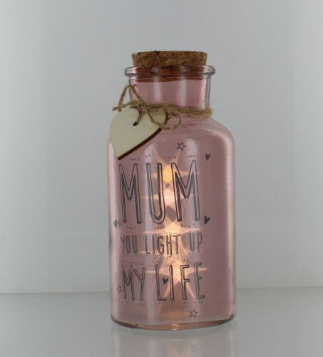 LED Light Up Firefly Glass Jars Sentiment Mum//Nan//Home Sweet Home BDay Gift