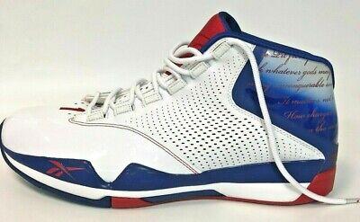 Reebok Mens Red White Blue Answer XII Shoes Allen Iverson Basketball Sneaker 15 | eBay