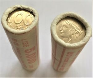 PRE-EURO-50-PCS-BANK-WRAPPED-ROLL-100-LIRE-ITALY-1994-KM-159-UNC-DOLPHIN-amp-BIRD