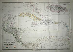1884 LARGE MAP ~ WEST INDIES JAMAICA CENTRAL AMERICA  ~ HAND COLOURED DETAIL