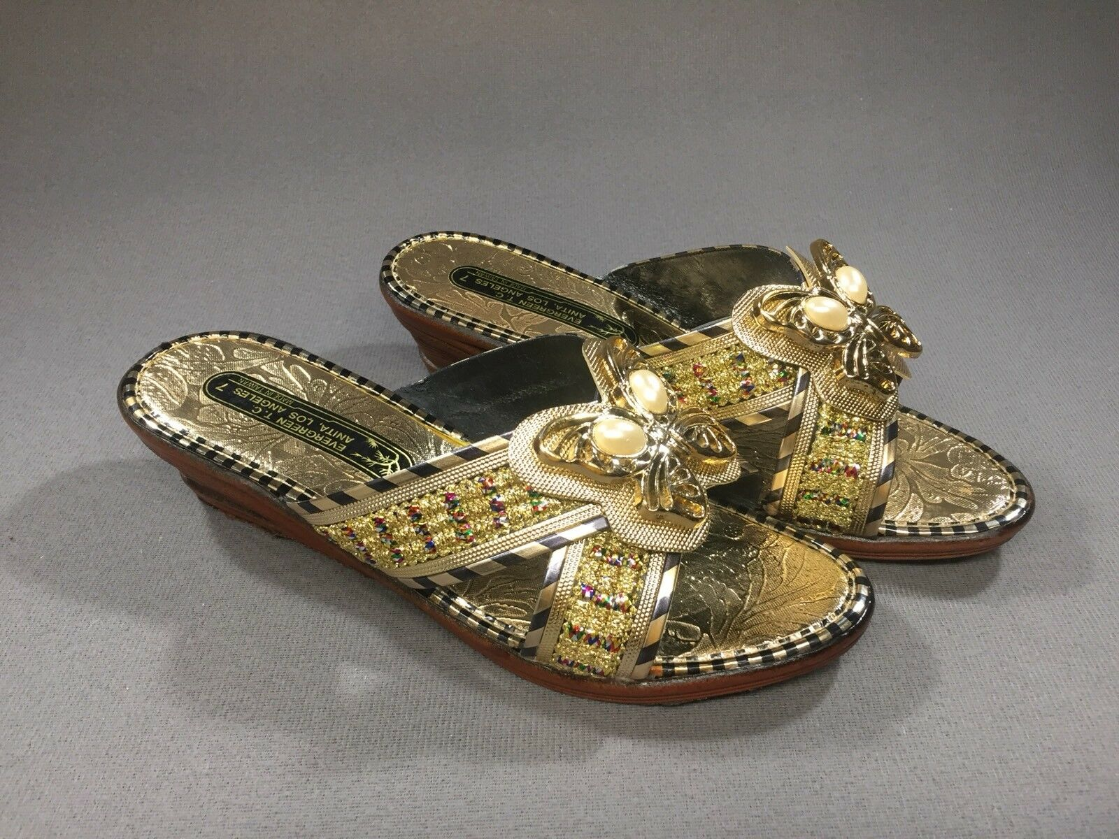 Vintage Sandals Retro Gold Butterfly Slip-on Sandals Vintage Phoenix Wedge Heel Sz 7 Los Angeles 6a2e33